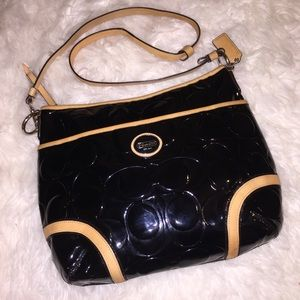 COACH Peyton Black Patent Leather & Tan Purse